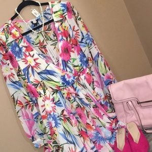 Women's Tropical Floral Tunic V Neck Maxi XXL